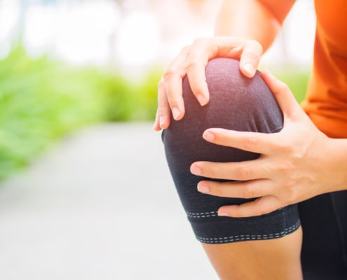 Runner sport knee injury.